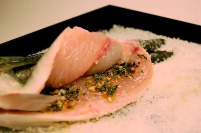 Orata on salt with herb marinade2
